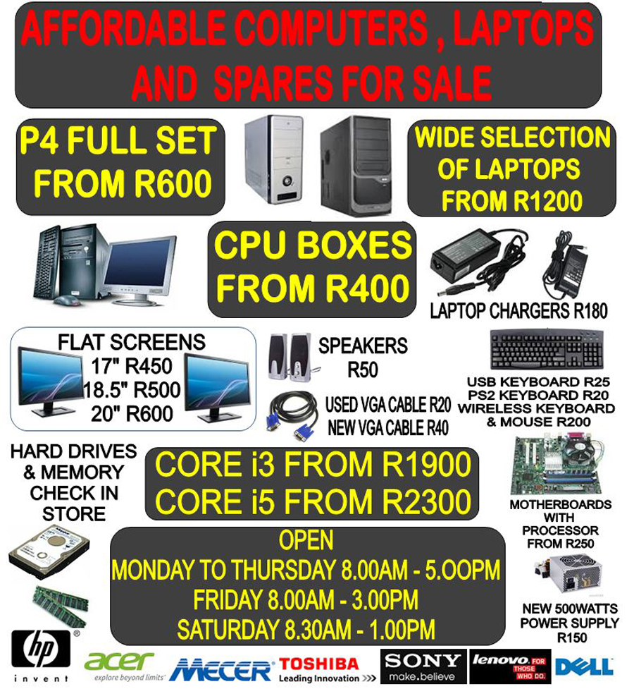 Affordable Computers, Laptops and Spares for sale
